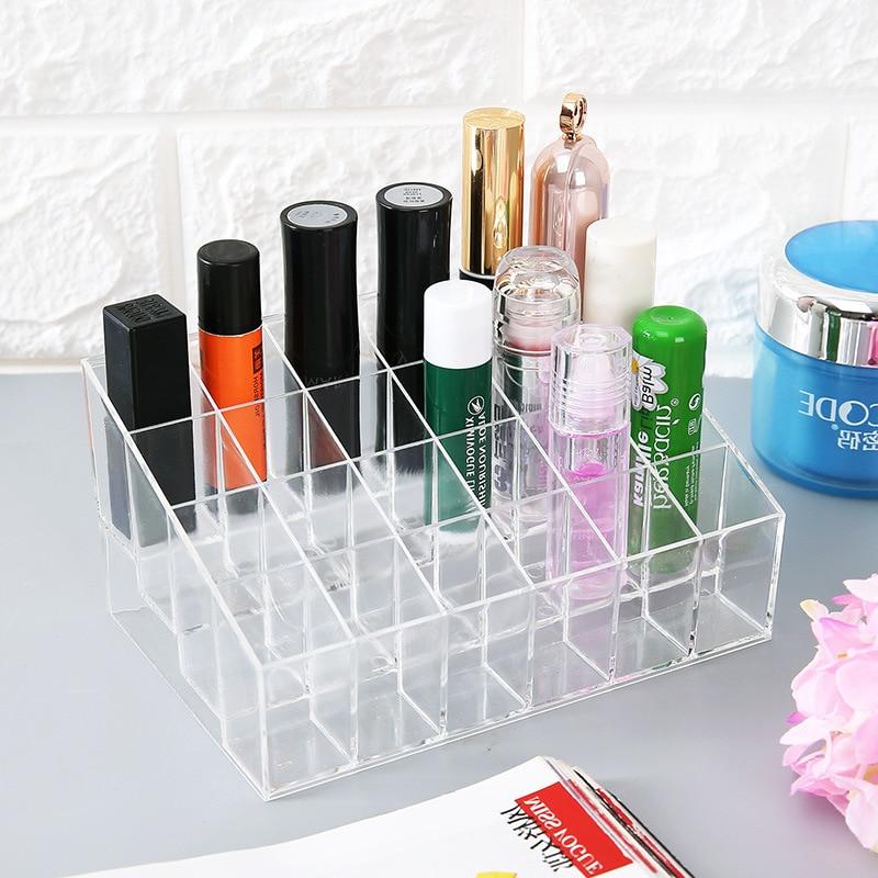 Multiple Grid Acrylic Transparent Makeup Organizer Storage Box Lipstick Nail Drill Polish Organizer Cosmetic Jewelry Box Holder