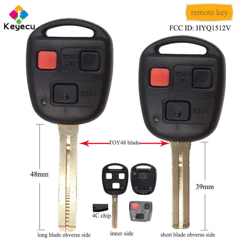 New Remote Key Keyless Replacement 3 Button Remote Head Short Blade For Lexus
