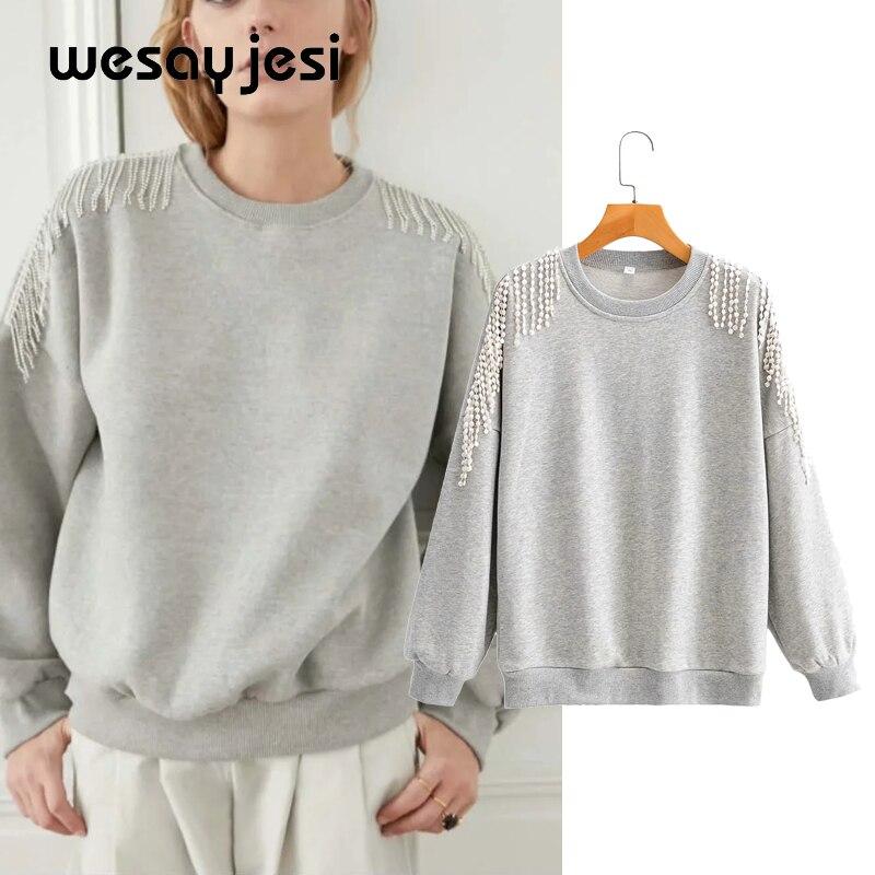 2020 autumn new women hoodies Womens sweatshirt solid long sleeve o neck harajuku casual losse oversized hoodie plue size
