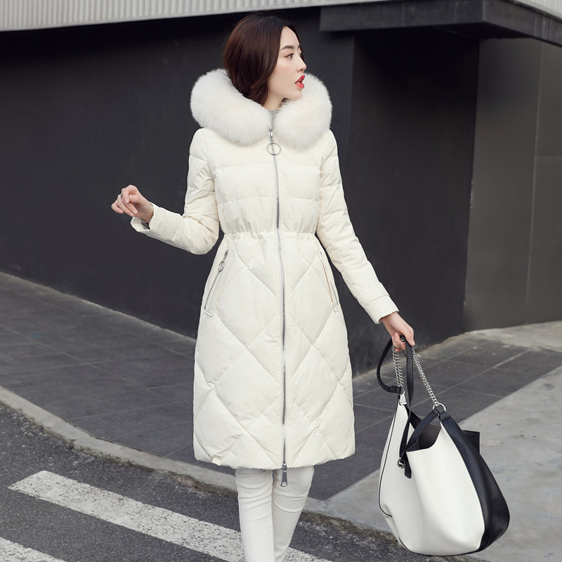 2019 Winter Fashion Korean Big Natural Fur Collar   Down   Jacket Woman Hooded Long Plus Size Plus Size Women Warm Parka   Coat