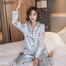 Caiyier Nette Blau Dumbo Print Silk Pyjamas Set Lange Hülse Drehen unten Kragen Nachtwäsche Damen Dessous Kausal Winter Nachtwäsche
