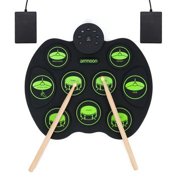 Przenośny zestaw perkusja elektroniczna-ammoon Digital Roll-Up Touch praktyka perkusja dla dzieci dzieci początkujący (bez głośników) tanie i dobre opinie Other 16 7 * 14 6 * 1 6in Konwencjonalne gumy typu tablica elektroniczna 12-16 cal