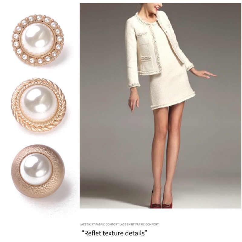 Perła złoty Metal przyciski do odzieży guzik do szycia ozdoby na ubrania kobiety płaszcz szyć na Botones akcesoria odzieży DIY dużo