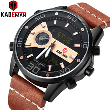 KADEMAN New Sports Watch Men Luxury World Time Casual Leather 3ATM LED Display Wristwatch TOP Brand Military Clock Relogio