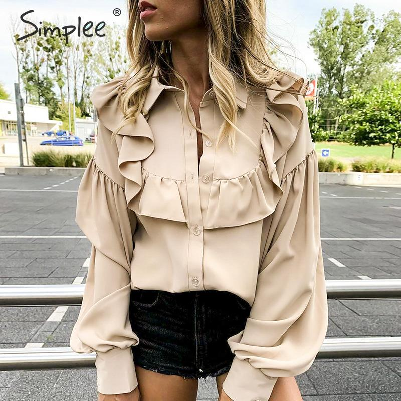 Simplee Vintage Ruffled Women Blouse Shirt Elegant Lantern Sleeve Buttons Female Tops Shirts Autumn Winter Office Ladies Blouses