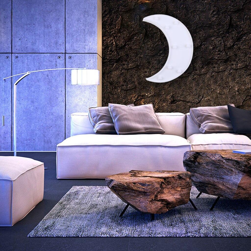 Crescent Moon Decor Light, Cute LED Nursery Night Lamp - Moon Wall Decor For Birthday Party,Kids Room, Living Room