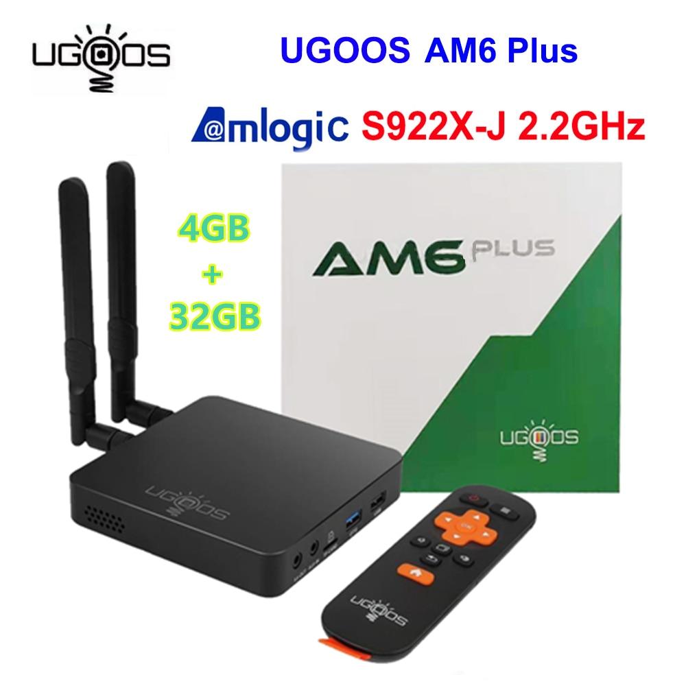 2020 Top Ugoos AM6 plus Amlogic S922XJ SOC 2.2Ghz 4GB EMMC 32GB RAM S905X4 TV-box Android 9.0 Media Player 2.4G 5G Wifi 4K stb