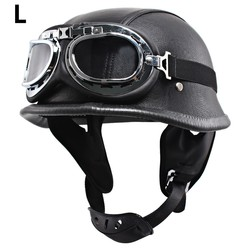 DOT Retro Motorcycle Half Open Face Helmet Hat /& Visor /& Goggles Scooter Cruise
