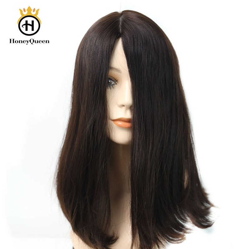 Jewish Wigs European Remy Hair With Baby Hair Straight Human Hair Wigs Silk Top 4# Color Kosher Wig Pre Colored Honey Queen Hair