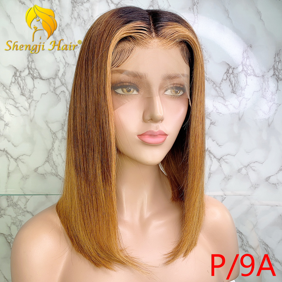 Shengji 13x6 Lace Front Human Hair Wigs Straight 3T Blonde Ombre Highlights Lace Front Wig Pro. Ratio Remy Hair Short Bob Wig