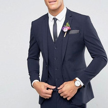 Custom Made Navy Blue Wedding Suits Best Man Blazer Tuxedos Groom 3 Pieces Business Men Suits Terno Masculino (Jacket+Pants+Vest blue wedding groom tuxedos for man ceremony prom suit 3 piece smoking business party men suits custom made jacket vest pant