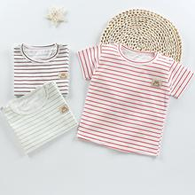 Baby T-shirt Short Sleeve Cotton Tops Stripe Crew Neck Pullover for 6-36M Boy Girl Baby Infant Girl T-shirt sexy hollow high neck stripe pattern t shirt