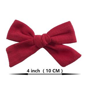 Image 4 - 24 pcs/lot, 4 inches Hand Tied Cotton Linen Hair Bow Clips, Baby Girls Fabric Bow nylon Headbands, Baby shower gift