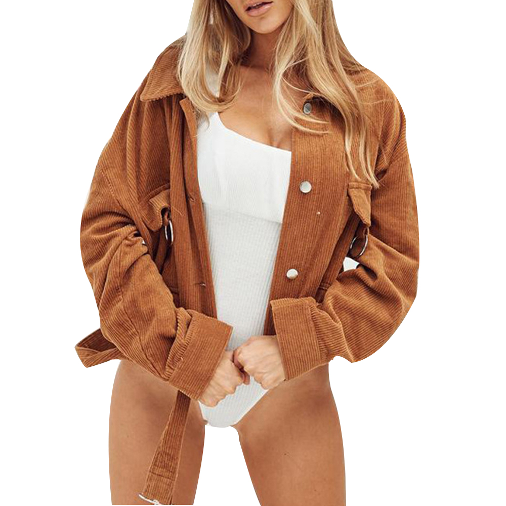 LOOZYKIT 2019 Autumn New Women Corduroy Thin Slim Coat Short Jacket Ring Pocket Retro Cool Belted Solid Long Sleeve Loose Tops