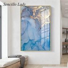 Art contemporain toile peinture doré bleu Texture abstraite affiche impression créative mur photo moderne salon décoration