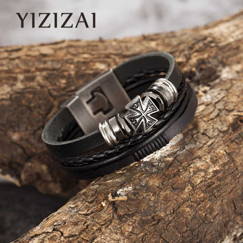 New Vintage Rock Nautical Jewelry Men Charm Multilayer Genuine Leather Bracelet Alloy Beads Women Anchor Cross Bracelets Homme