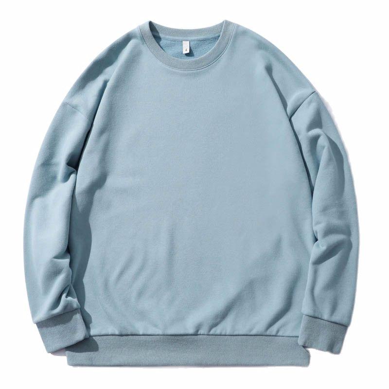Sweatshirt  Spring 2021 New Polar Fleece Sweater Pullover Solid Color Plus Fleece Sweater Men Loose Couple Sweater Oversize