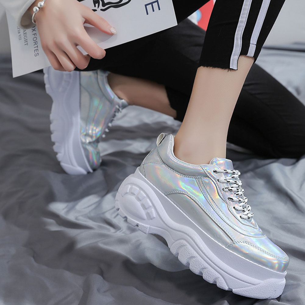 Woman High Platform Metallic Sneakers 9