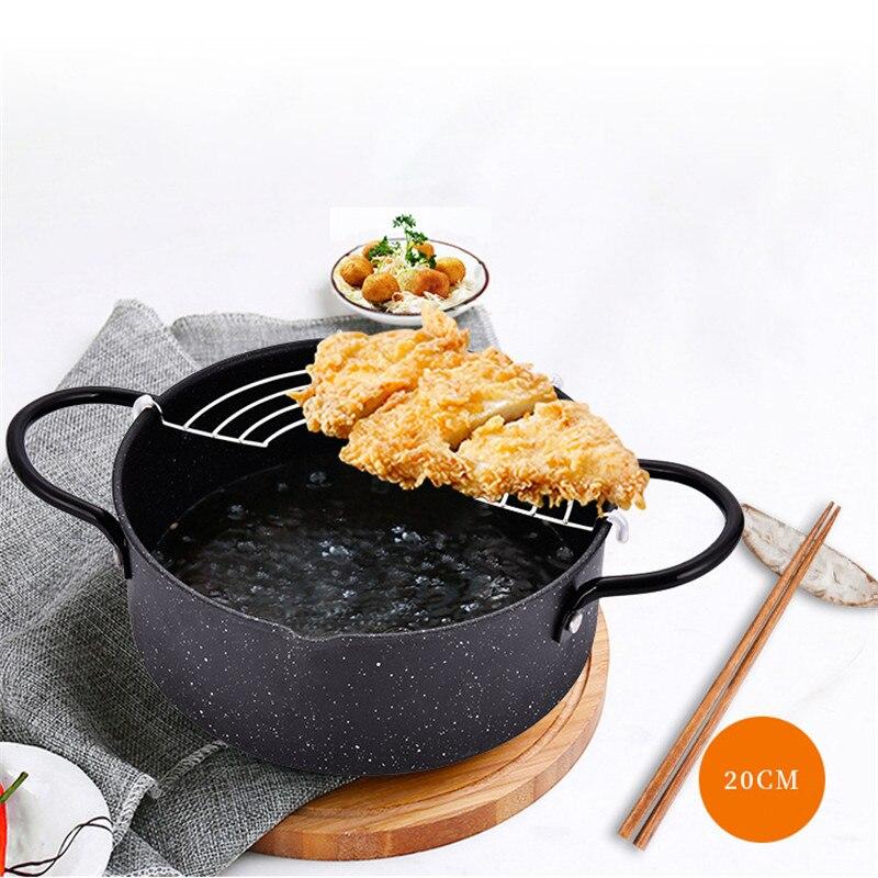 Black 20cm Tempura Deep Fryer Frying Pots With Basket Kitchen Utensils For Home Cooking Utensils For Outdoor Picnic Frying Pan