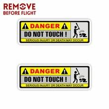 1 par de etiqueta engomada del coche de la atención del peligro motocicletas y coche divertido no tocar la etiqueta de la decoración de PVC