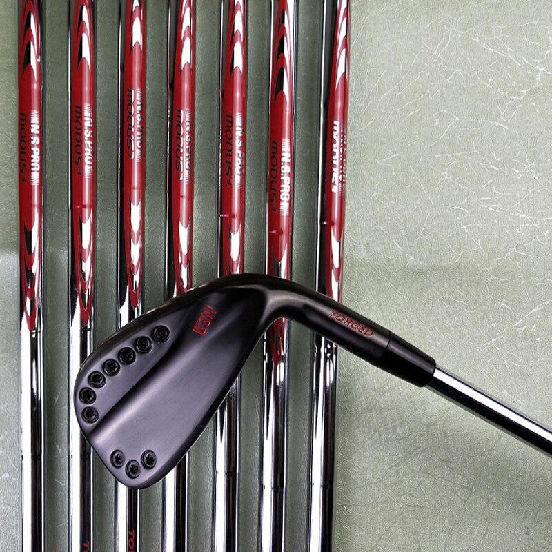 0311 Golf Ütüler Siyah Kırmızı Demir Seti Golf Kulüpleri 4-9w (8 Adet) Düzenli Sert Flex Grafit Veya çelik Mil Ile Golf Sopası Kılıfı ücretsiz Kargo
