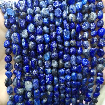 Naturalny żwir Lapis Lazuli kamień koraliki luźna nieregularna kamień Spacer koraliki do tworzenia biżuterii DIY bransoletka Handmade 6-8mm tanie i dobre opinie LUOMAN XIARI CN (pochodzenie) zawieszki ZK-25QJS8 NJQSIC NUGGETS about 20g Drobne about 6-8 mm Brak Gravel Lapis Lazuli