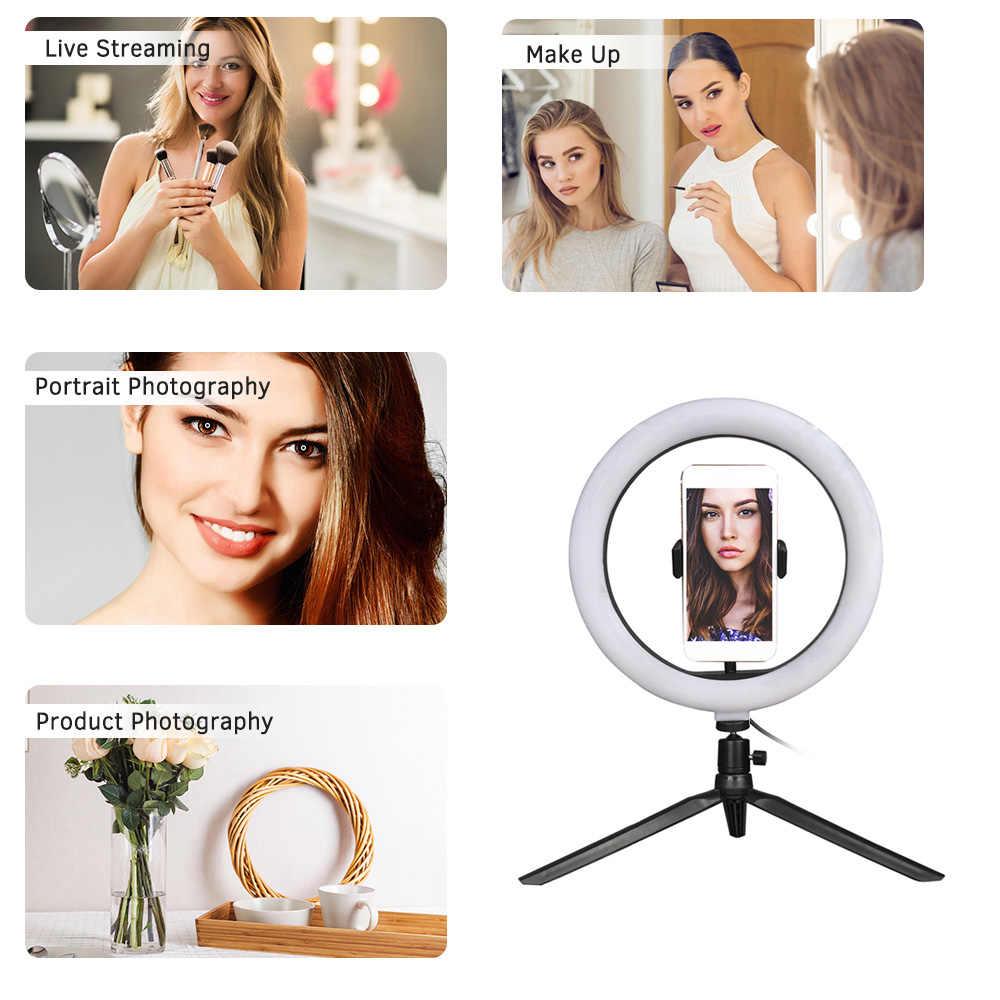 صور LED Selfie حلقة ملء ضوء 10 بوصة عكس الضوء هاتف مزود بكاميرا حلقة مصباح مع حامل ترايبود ل ماكياج فيديو لايف ستوديو