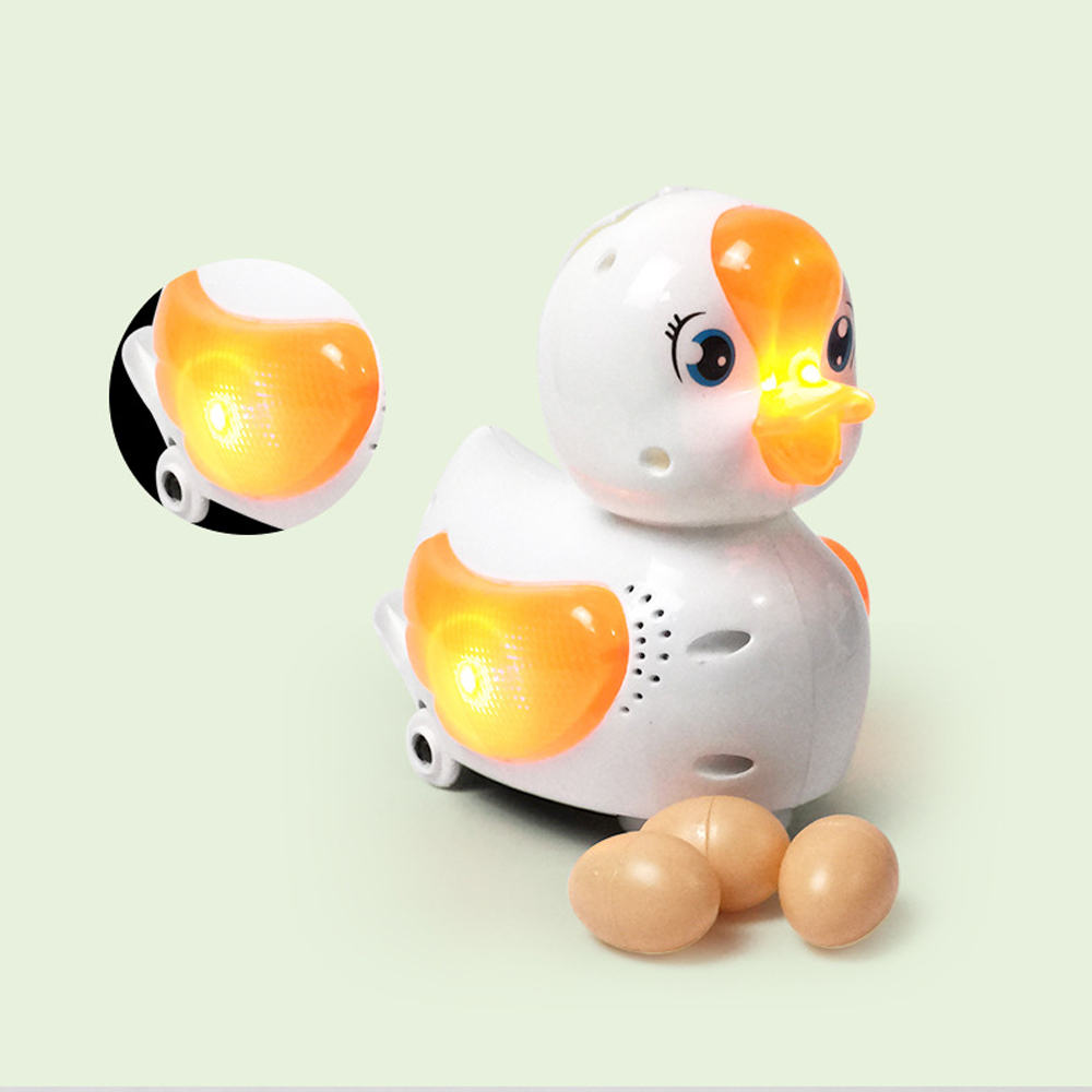 Universal Rotation Laying  Eggs Goose Duck With Light Music Toys For Children Funny Electric Animal Educational Toys For Baby