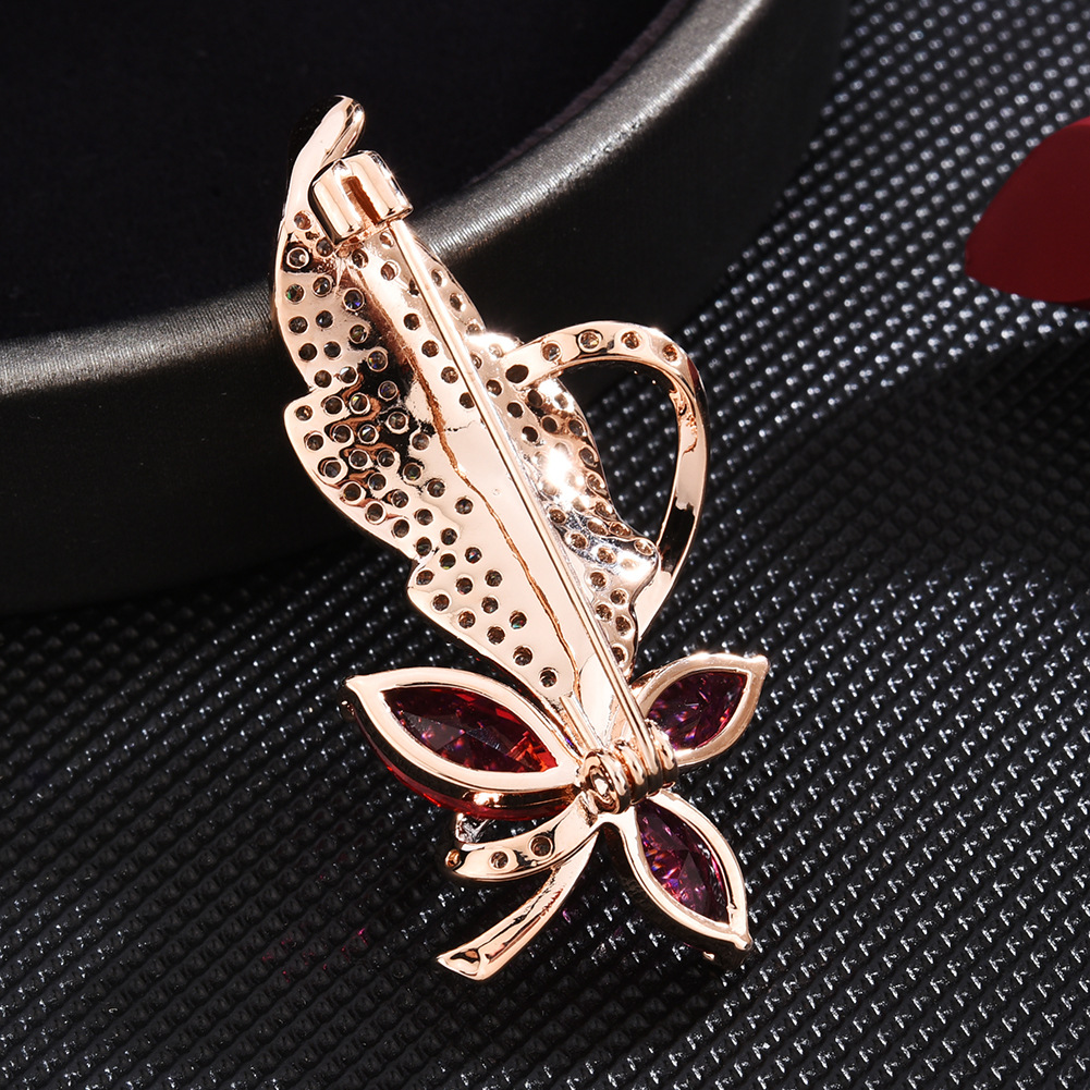 Gold Leaf Zircon Brooch Pin for Women's Red Crystal Brooch Jewelry Clothes Scarf Buckle Garment Accessories Fine Jewelry Gifts-3