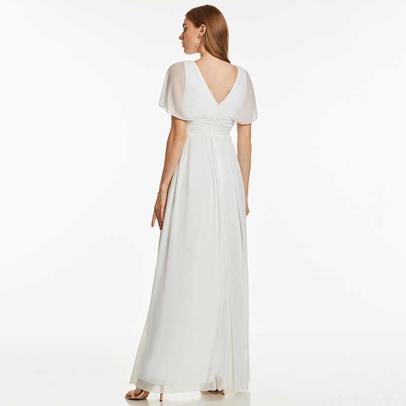 Dressv فستان سهرة طويل عاجي رخيصة الخامس الرقبة الخرز الأكمام القصيرة حفل زفاف فستان رسمي خط فساتين السهرة