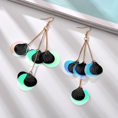 Korean Fashion Geometric Dangle Earrings For Women Asymmetrical Round Sequins Wild Jewelry Womens Jewellery Pendientes