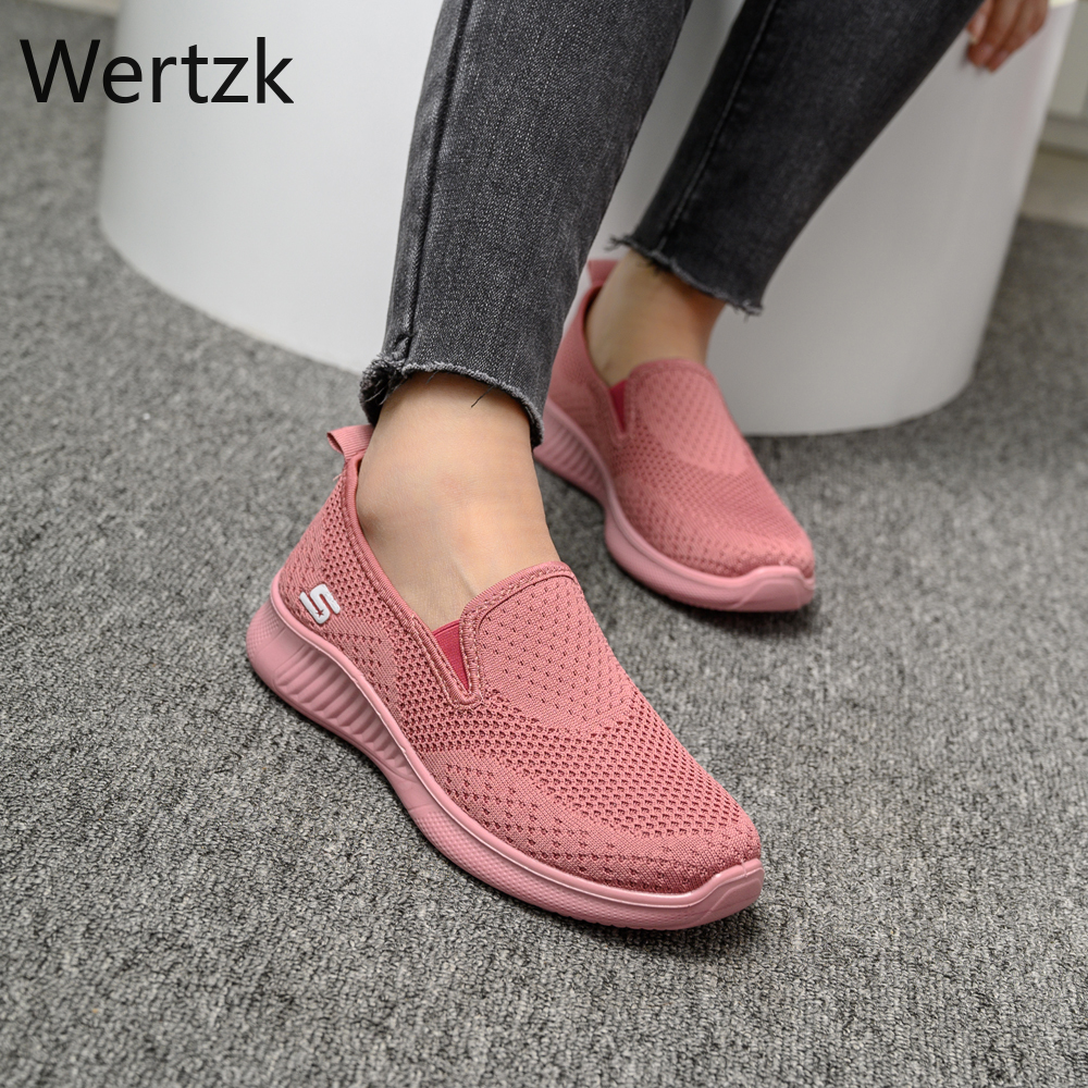 2020 summer women's sneakers slip on soft women's shoes flat casual sock shoes Ladies  Mesh lofaers fashion Vulcanize Shoes 1
