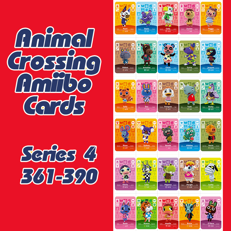 Animal Crossing New Horizons Amiibo Card For NS Switch 3DS Game Lobo Card Set Series 4 (361-390)