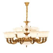 European Antique Glass Pendant Light White Jade Bronze Living Room Chandelier Bedroom Study Dining Hotel Lamps Lanterns