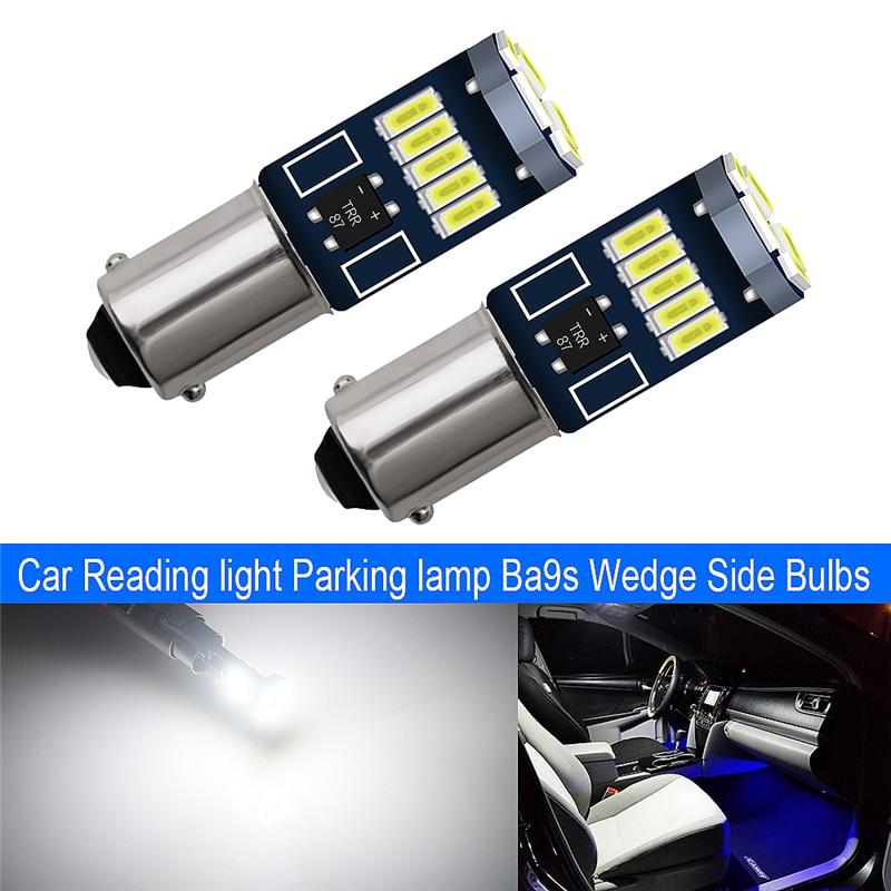 2x BA9S LEDs T4W Super Bright 4014 LED 15 24 SMD Car License Plate Lights Auto Lamp Marker Light Non-Polarity DC 12V