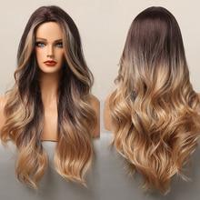 Peluca de cabello sintético Afro Americano para mujer, pelo largo ondulado con ombré negro y marrón, fiesta de Cosplay, uso diario, resistente al calor