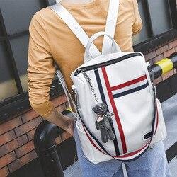 Rugzak Echt Leer 2019 Koreaanse Stijl Veelzijdige Trend College Stijl Contrast Kleur Women's Bag