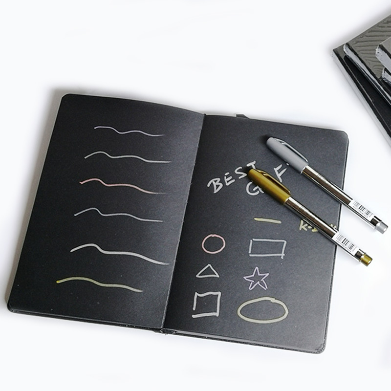 A5 / A6 Black Blank Notebook Notepad , DIY Blank Black Paper Sketchbook
