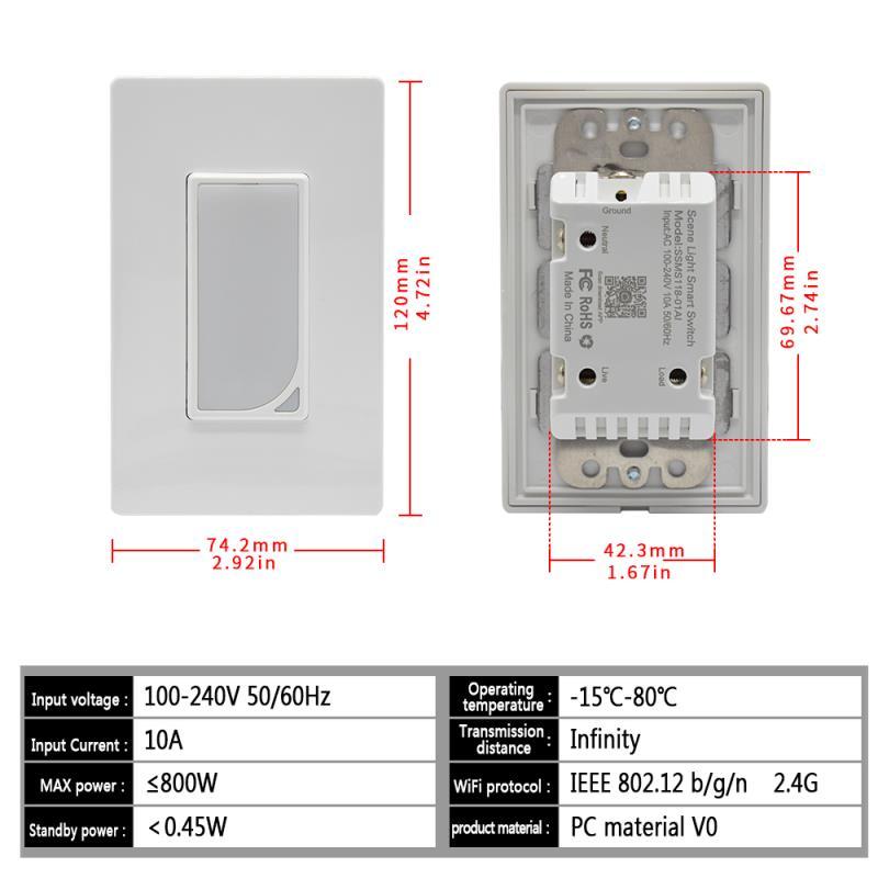 Régulation US WiFi interrupteur intelligent applique murale télécommande commande vocale Fader pratique de l'application Mobile - 5