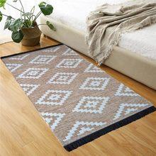 Tapetes 63x120 cm bege motivo turco nostálgico decoração para casa sala de estar tapete algodão tapetes persas naturais padrão