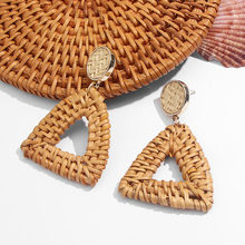 2020 Summer Beach Jewelry for Women Rattan Knit Geometric Gold Color Big Triangle Drop Earrings Dangle Earrings Party Wedding dangle drop earrings minimalist design rattan