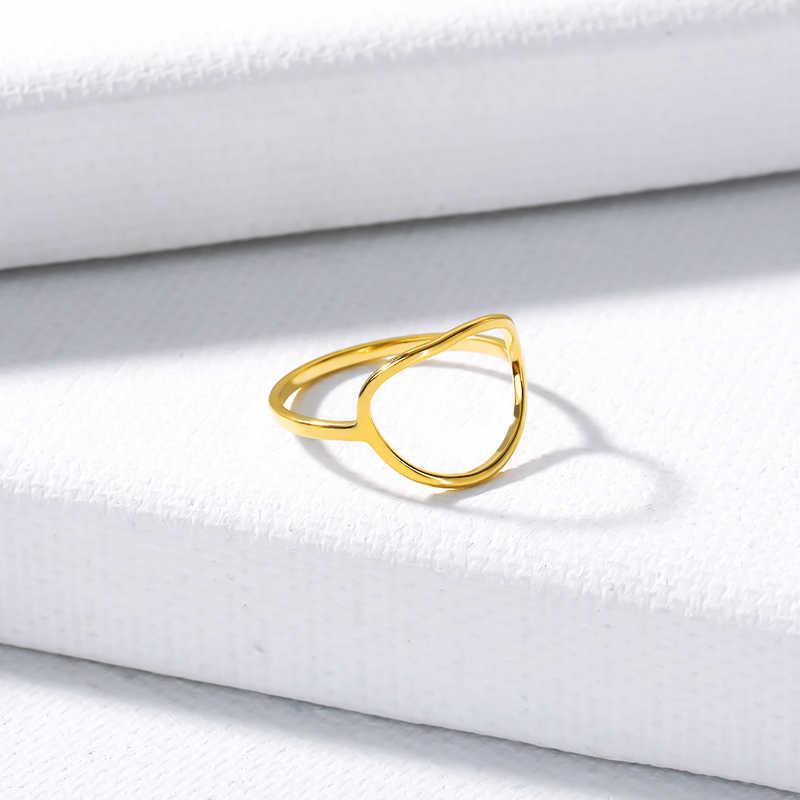 بسيطة كارما دائرة خواتم للنساء العصرية حلقة مستديرة آنيل حزب الزفاف الفرقة مجوهرات الفولاذ المقاوم للصدأ بيجو فام