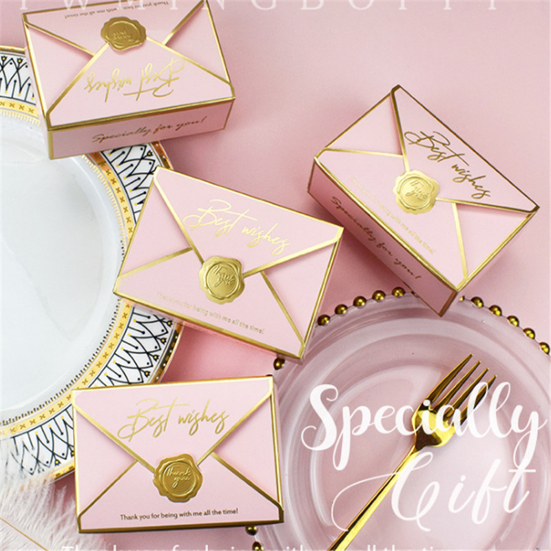 100Pcs Envelope Shape Candy Boxes Gift Bag Wedding Gift Box  Favors Birthday Party Christmas  Jelwery Package Decoration