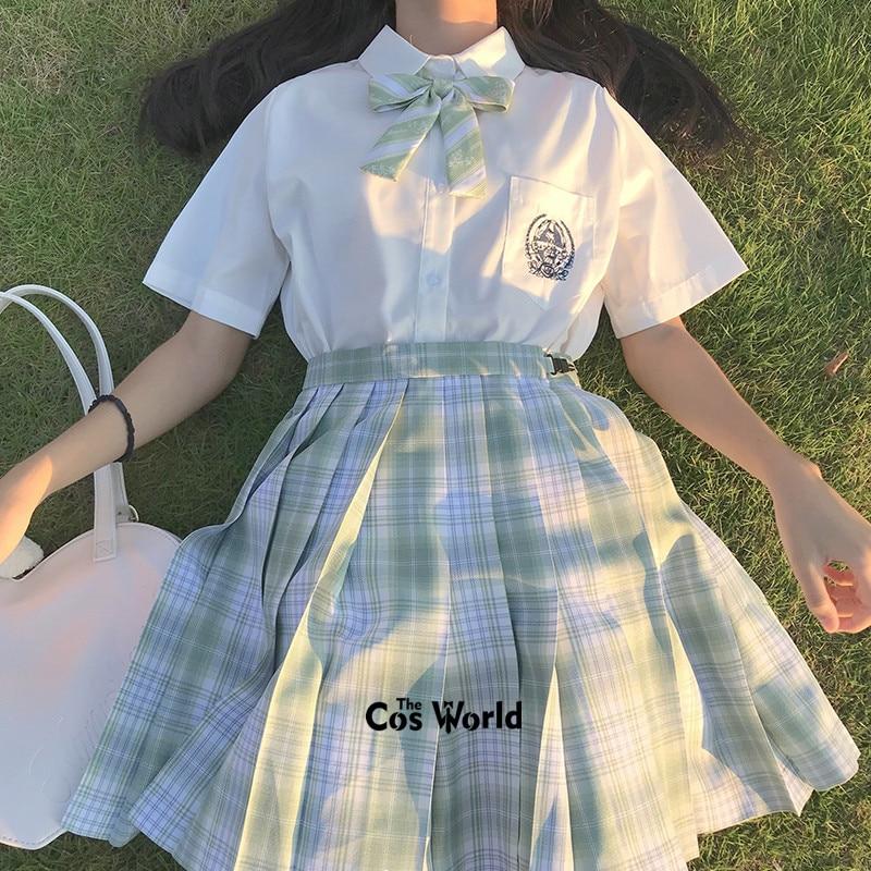 [Cedar] Girl's Summer High Waist Pleated Skirts Plaid Skirts Women Dress For JK School Uniform Students Cloths