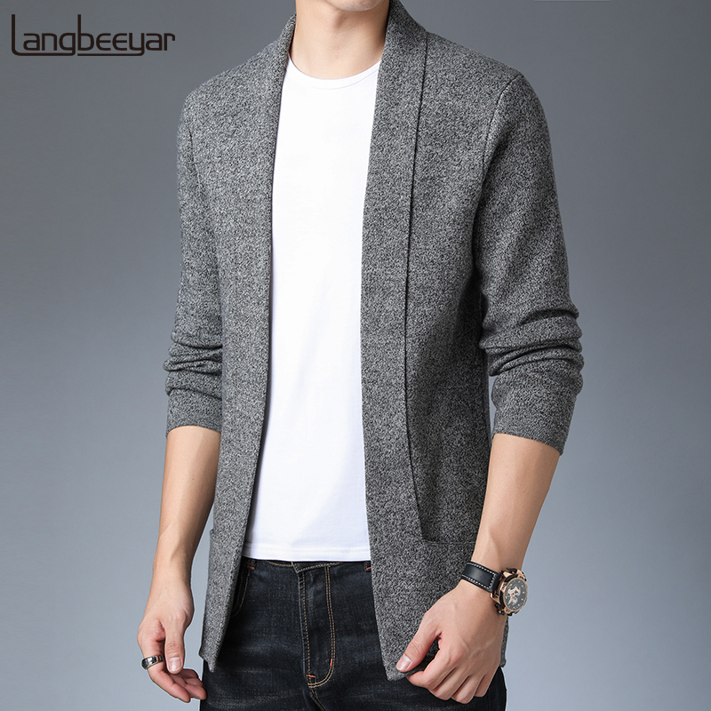 2020 Top Grade New Fashion Sweaters Men's Cardigan Coat Long Slim Fit Jumpers Knitwear Autumn Korean Style Casual Men Clothes