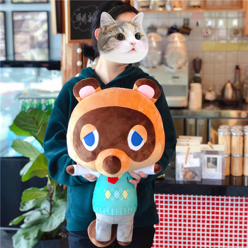 60cm Tom Nook Plush Dolls Raccoon Plush Animal Crossing Game character Cartoon doll leaf pillow Soft Toy Gift Plush Decor image