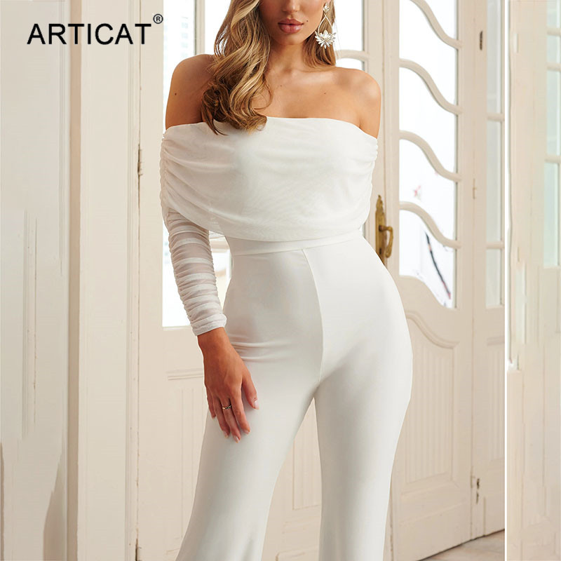 Articat Sexy Strapless Mesh Patchwork Jumpsuit Women Long Sleeve Elegant Off Shoulder Bodycon Bodysuit Summer Party Clothing
