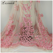 1yard New pink 3d flower polyester embroidery lace fabric diy Nigerian evening party dress skirt accessories French tulle