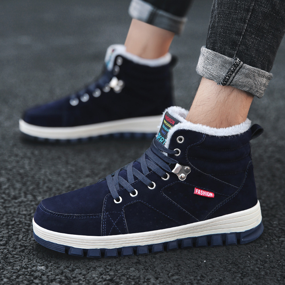 Leisure Men's Shoes Round Head Keep Warm Non Slip Lace Up Sneakers Outdoor sports men's high boots plus velvet warm sneakers