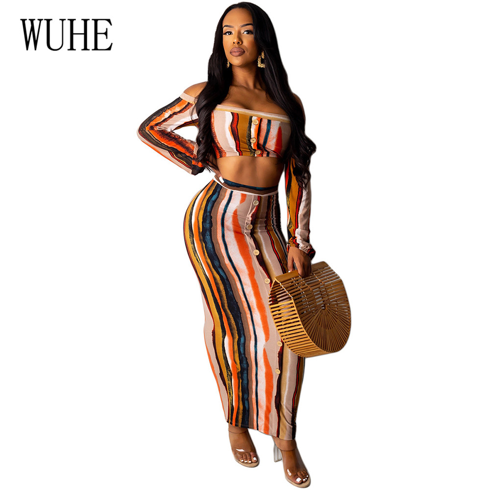 WUHE High Quality Sexy Off Shoulder Long Sleeve Vintage Maxi Dress Two Pieces Sets Femme Retro Striped Ladies Casual Dress Mujer in Dresses from Women 39 s Clothing